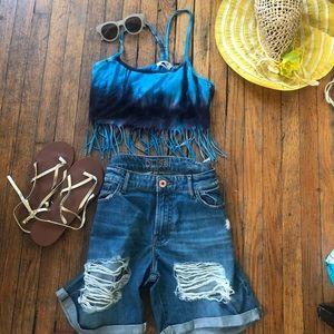 🌞Urban Oufitters Tie Dye Fringe crop/bra top.